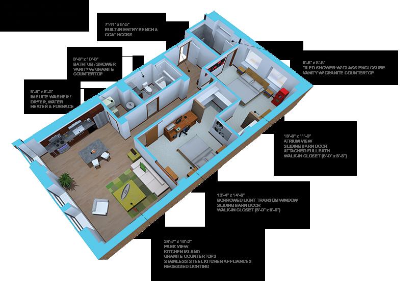 Option A- 2 bedroom/2 bath units