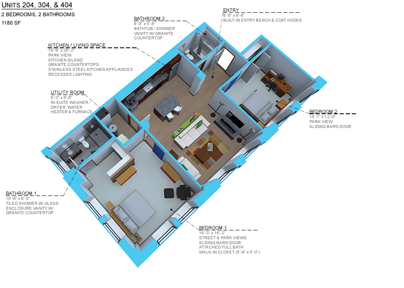Option D-2 bedroom/ 2 bath units