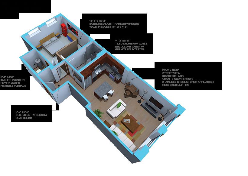 Option G-1 bedroom/ 1 bath units
