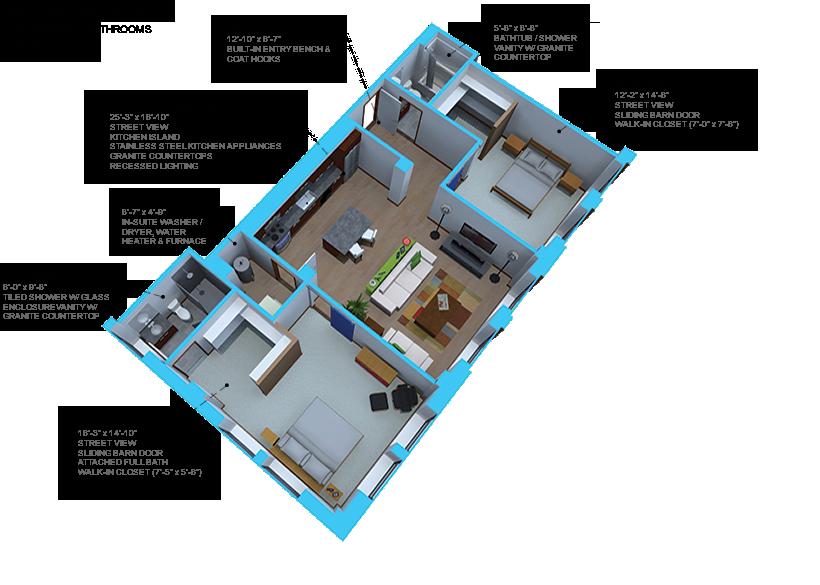 Option H- 2 bedroom/2 bath units